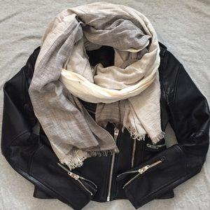 grey/white/orange color block sheer scarf